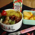 【塾弁当】オムライスとイカ醤油焼き