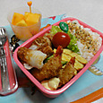 【中学弁当】海老フライと根菜バーグ