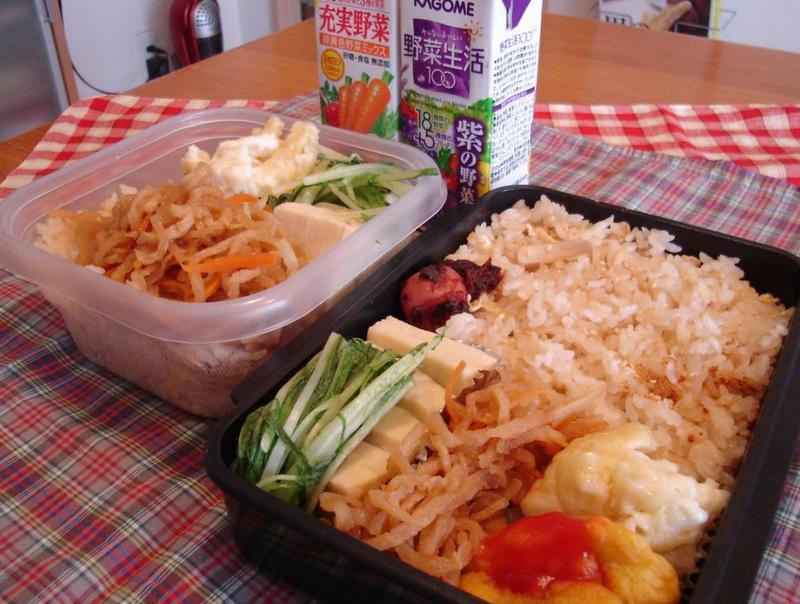 高野豆腐煮とチキンナゲット弁当