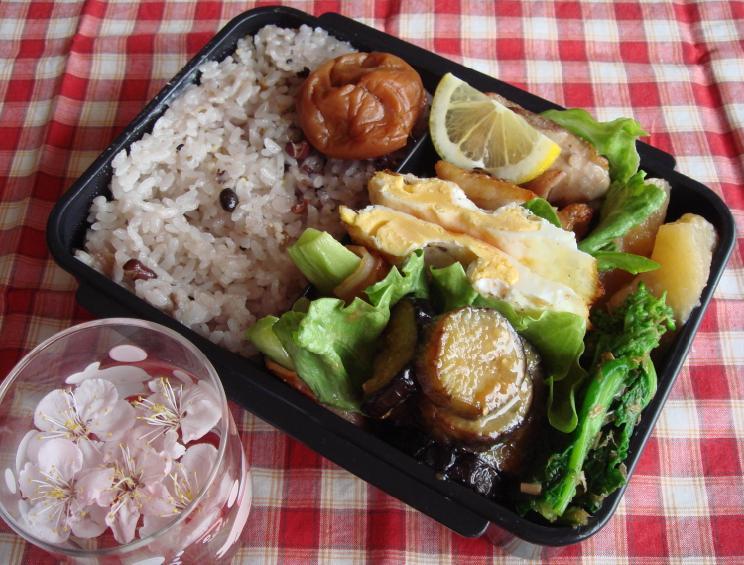 茄子味噌と鶏レモン弁当
