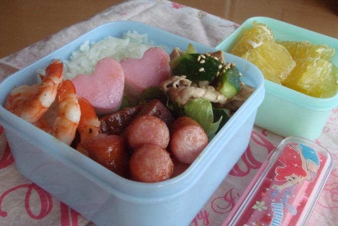 【塾弁】ハンバーグと豚シャブ弁当
