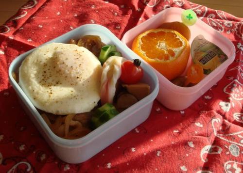 【塾弁当】豚丼と煮物