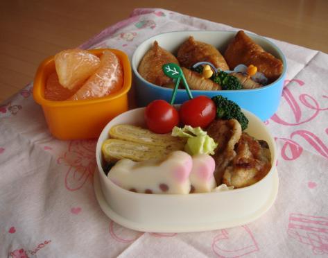 【中学弁当】お稲荷さんと牡蠣ソテー