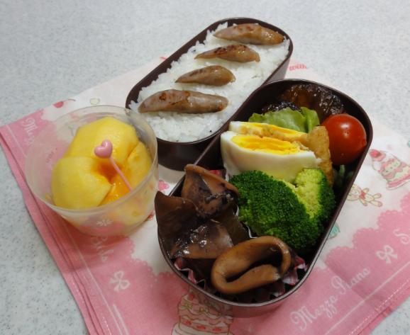 【中学弁当】ハンバーグとイカ大根煮
