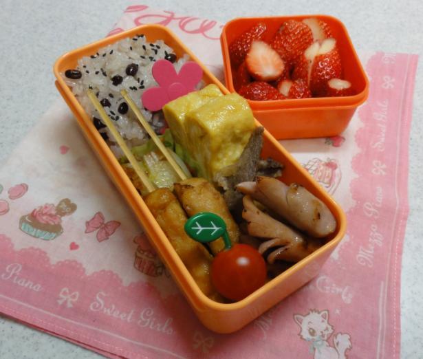 【中学弁当】鶏つくねとお赤飯