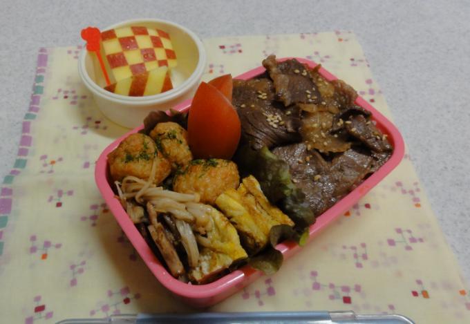 【部活弁当】すき焼き味の牛肉のっけごはん