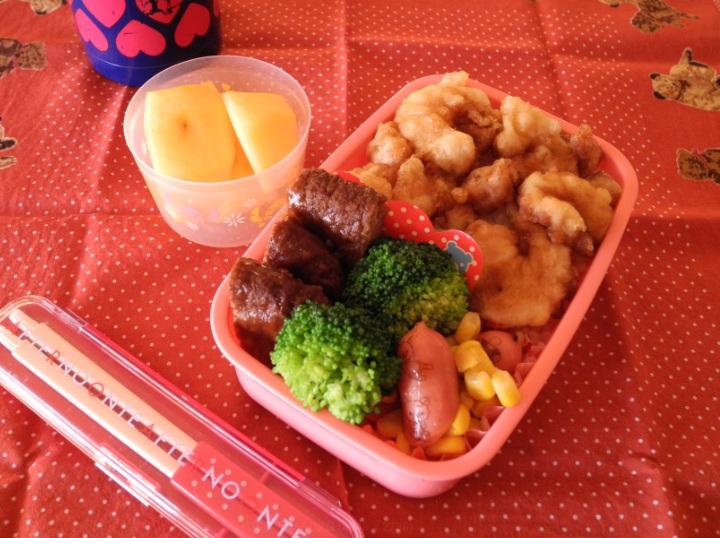 【中学弁当】小エビ天丼とハンバーグ