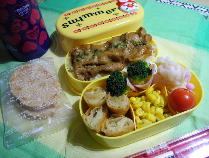 【中学弁当】春巻きと豚丼