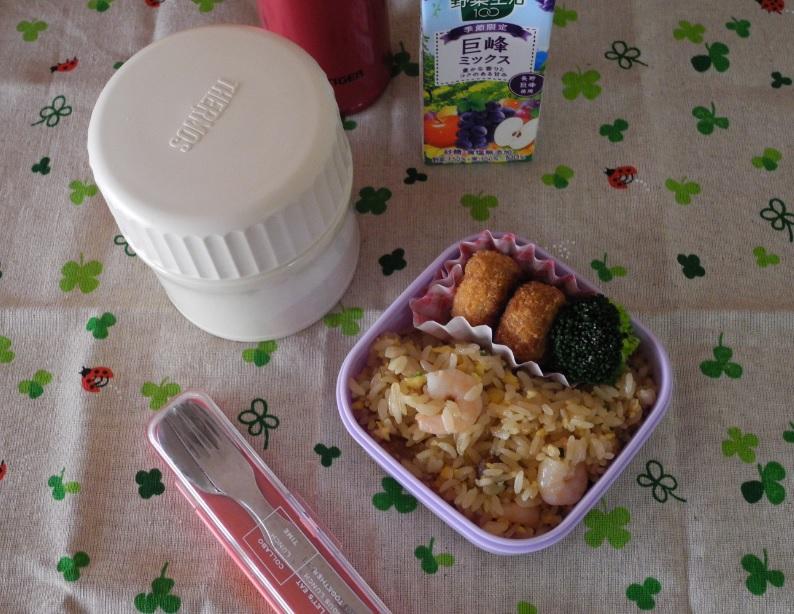 【高校弁当】野菜スープと炒飯