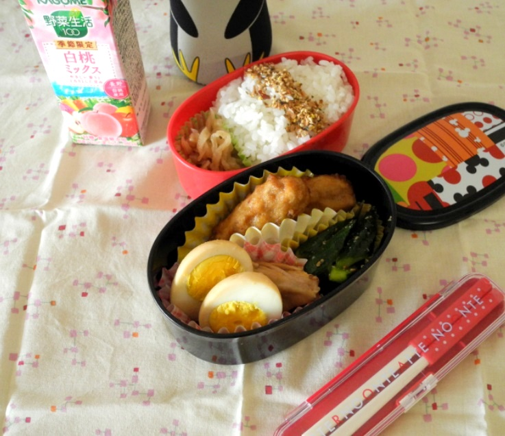 【高校弁当】鶏手羽玉子煮