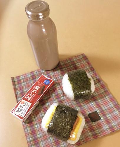 【受験弁当】スパムにぎりと野菜味噌にぎり
